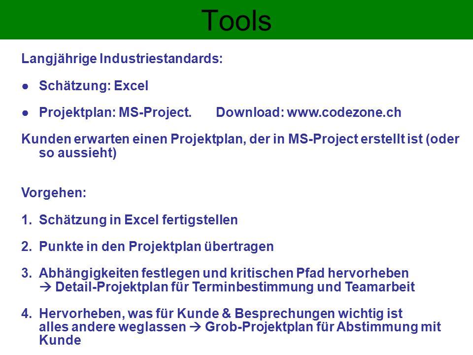 Tools Langjährige Industriestandards: Schätzung: Excel