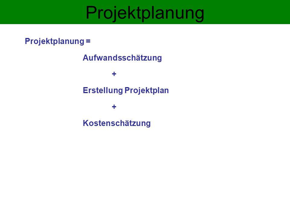 Projektplanung Projektplanung = Aufwandsschätzung +