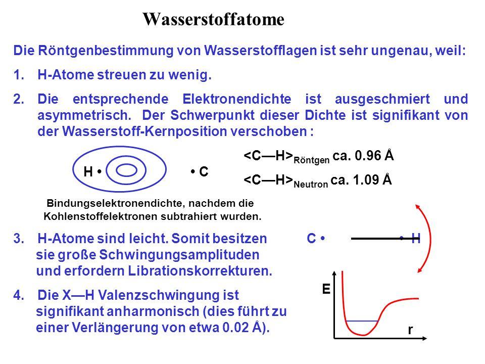 Wasserstoffatome Die Röntgenbestimmung von Wasserstofflagen ist sehr ungenau, weil: H-Atome streuen zu wenig.