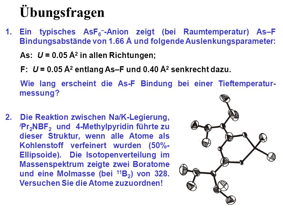 Übungsfragen Ein typisches AsF6–-Anion zeigt (bei Raumtemperatur) As–F Bindungsabstände von 1.66 Å und folgende Auslenkungsparameter: