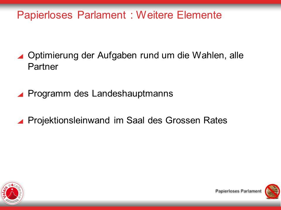 Papierloses Parlament : Weitere Elemente