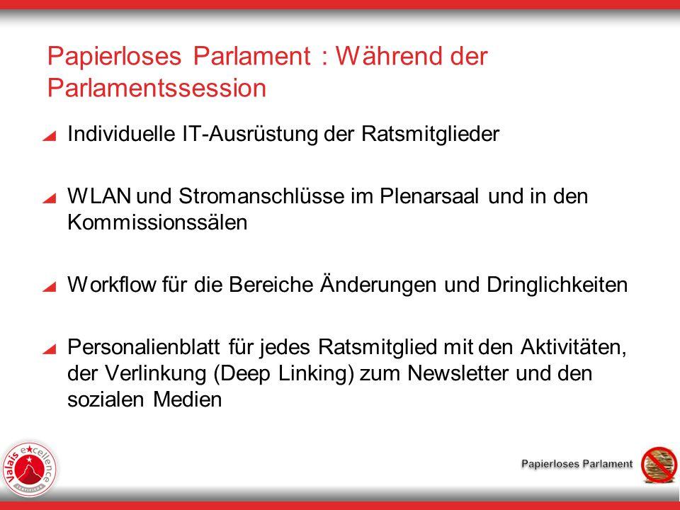 Papierloses Parlament : Während der Parlamentssession