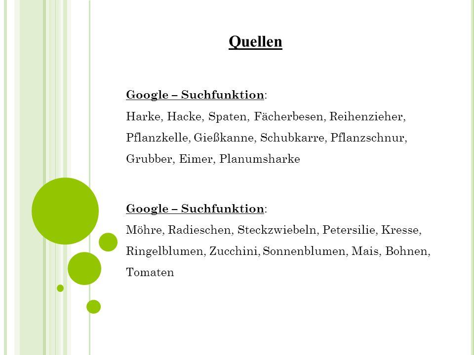Quellen Google – Suchfunktion: