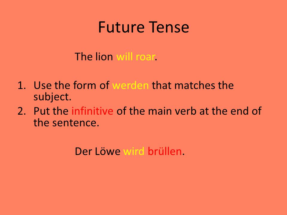 Future Tense The lion will roar.