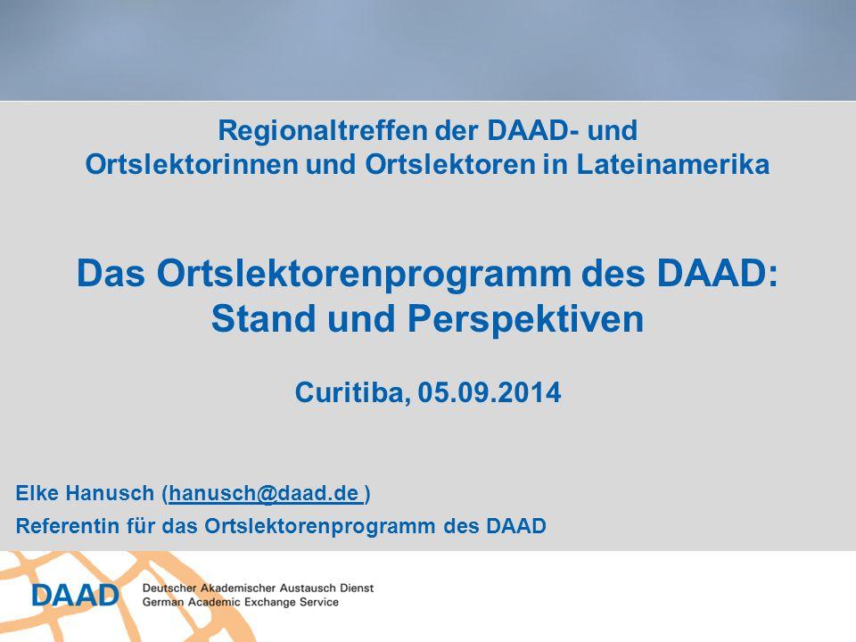 Regionaltreffen der DAAD- und Ortslektorinnen und Ortslektoren in Lateinamerika Das Ortslektorenprogramm des DAAD: Stand und Perspektiven Curitiba, 05.09.2014