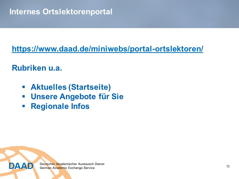 Internes Ortslektorenportal