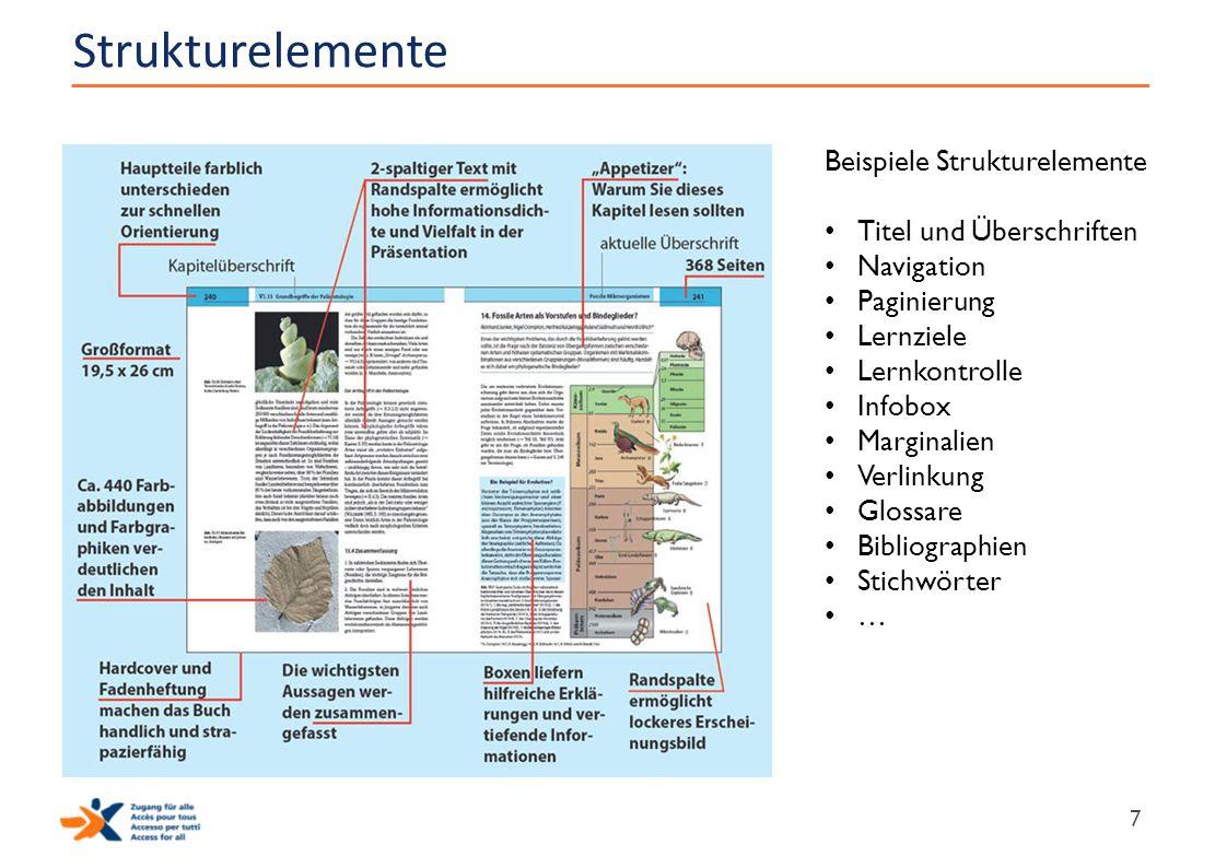 Strukturelemente Beispiele Strukturelemente Titel und Überschriften
