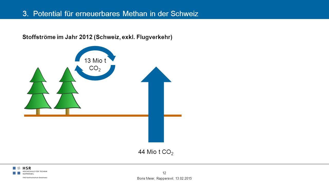 3. Potential für erneuerbares Methan in der Schweiz