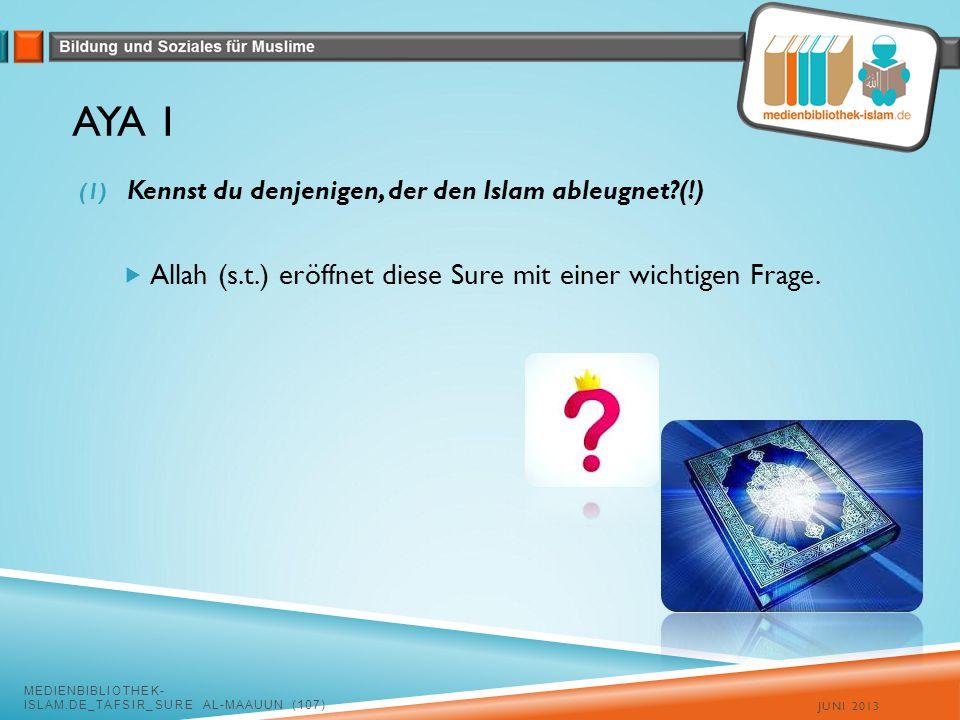 Aya 1 Allah (s.t.) eröffnet diese Sure mit einer wichtigen Frage.