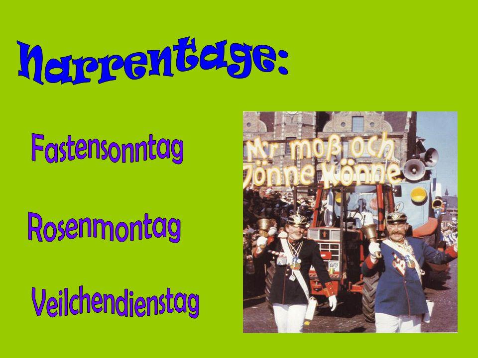 Narrentage: Fastensonntag Rosenmontag Veilchendienstag