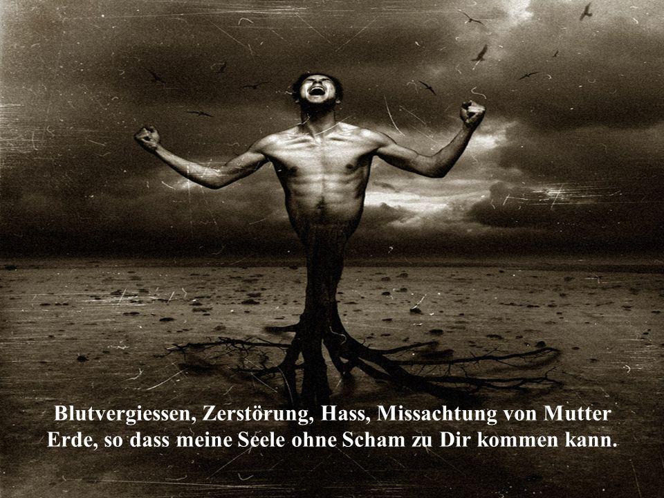 Blutvergiessen, Zerstörung, Hass, Missachtung von Mutter Erde, so dass meine Seele ohne Scham zu Dir kommen kann.