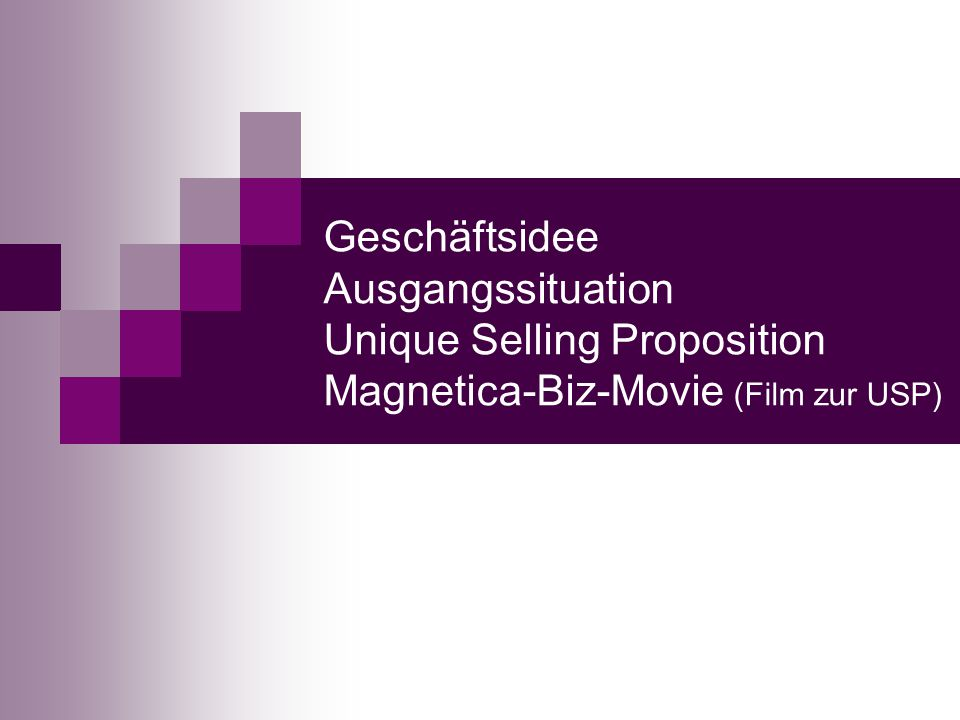 Geschäftsidee Ausgangssituation Unique Selling Proposition Magnetica-Biz-Movie (Film zur USP)