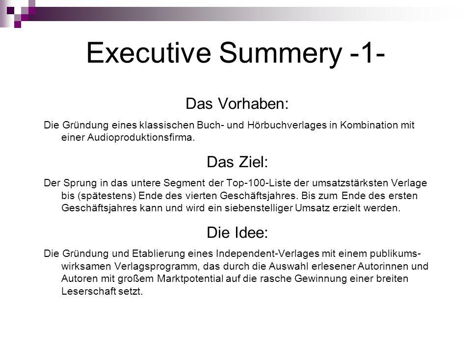 Executive Summery -1- Das Vorhaben: Das Ziel: Die Idee:
