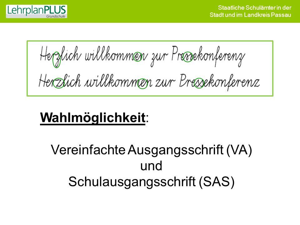 Vereinfachte Ausgangsschrift (VA) und Schulausgangsschrift (SAS)