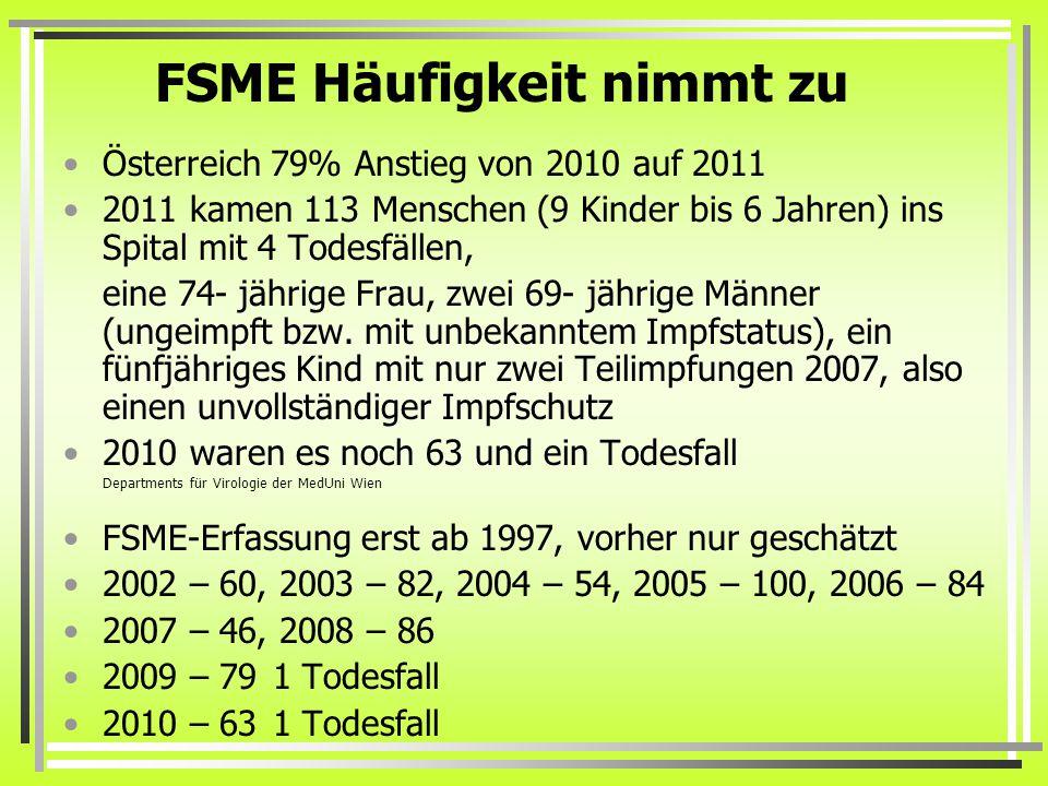FSME Häufigkeit nimmt zu