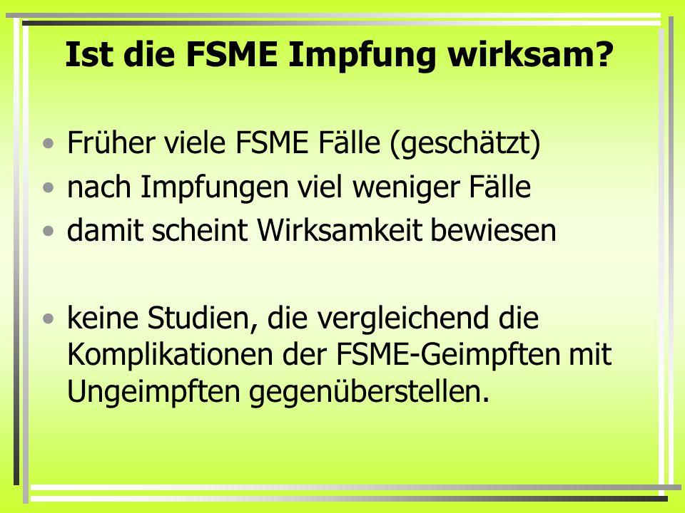 Ist die FSME Impfung wirksam