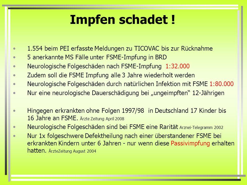 Impfen schadet ! 1.554 beim PEI erfasste Meldungen zu TICOVAC bis zur Rücknahme. 5 anerkannte MS Fälle unter FSME-Impfung in BRD.