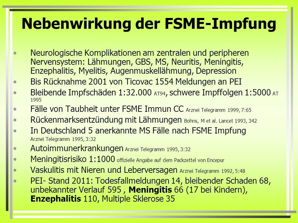 Nebenwirkung der FSME-Impfung
