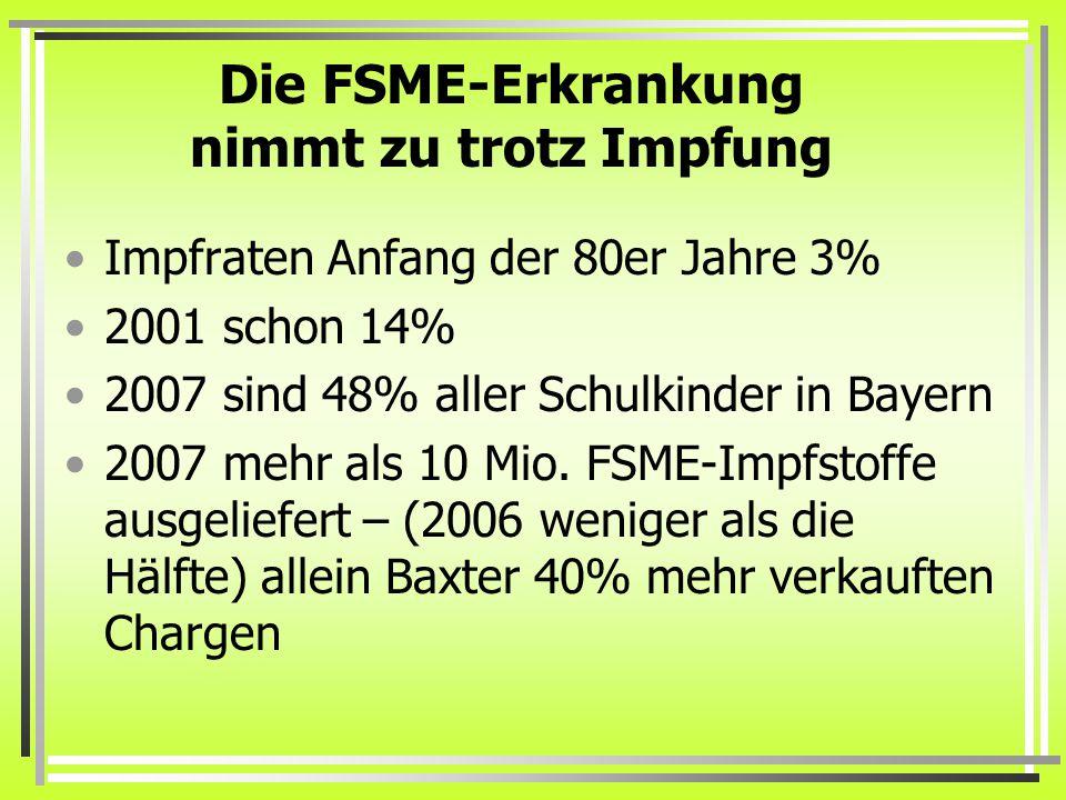 Die FSME-Erkrankung nimmt zu trotz Impfung