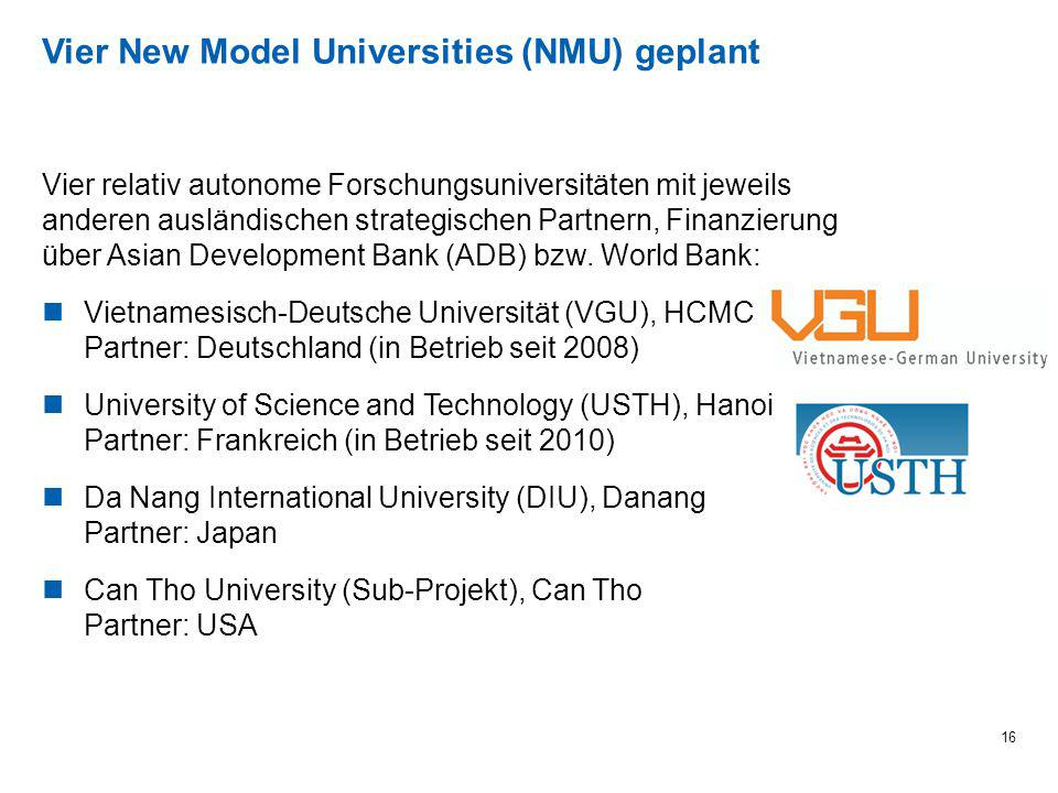 Vier New Model Universities (NMU) geplant