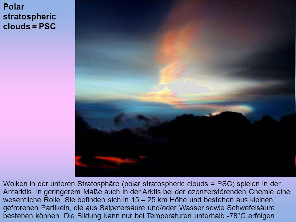 Polar stratospheric clouds = PSC