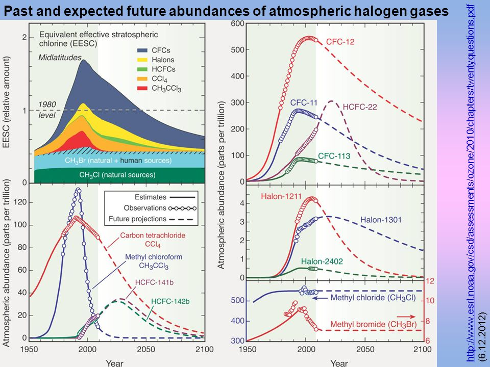Past and expected future abundances of atmospheric halogen gases