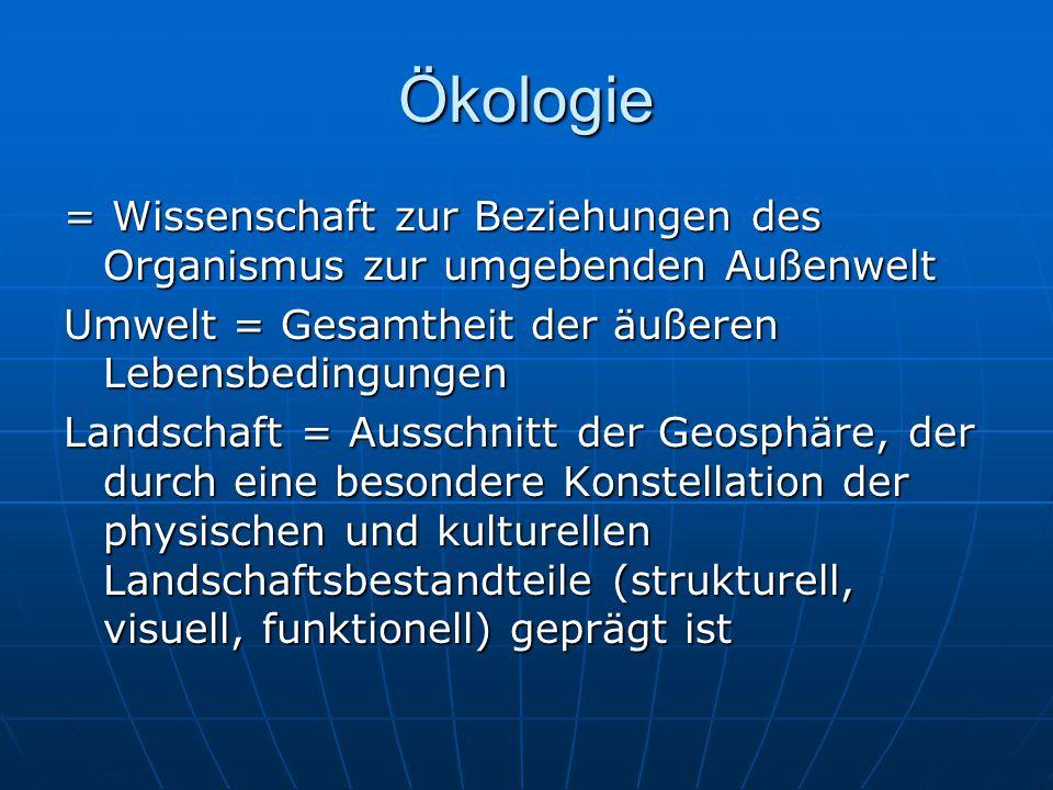 Ökologie = Wissenschaft zur Beziehungen des Organismus zur umgebenden Außenwelt. Umwelt = Gesamtheit der äußeren Lebensbedingungen.