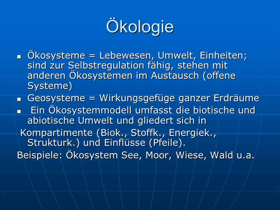 Ökologie Ökosysteme = Lebewesen, Umwelt, Einheiten; sind zur Selbstregulation fähig, stehen mit anderen Ökosystemen im Austausch (offene Systeme)