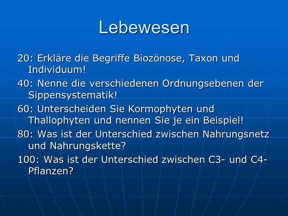 Lebewesen 20: Erkläre die Begriffe Biozönose, Taxon und Individuum!