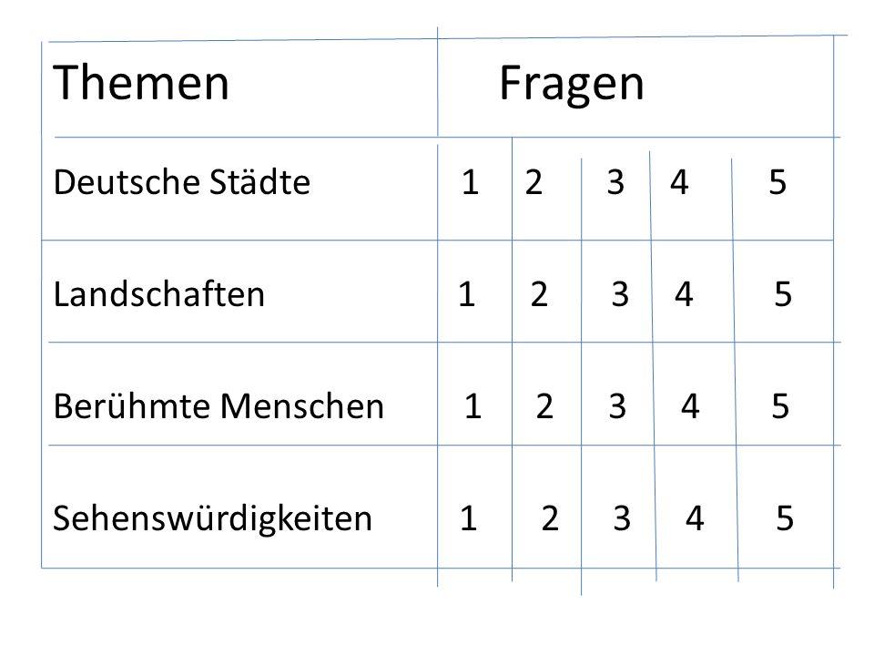 Themen Fragen Deutsche Städte 1 2 3 4 5 Landschaften 1 2 3 4 5