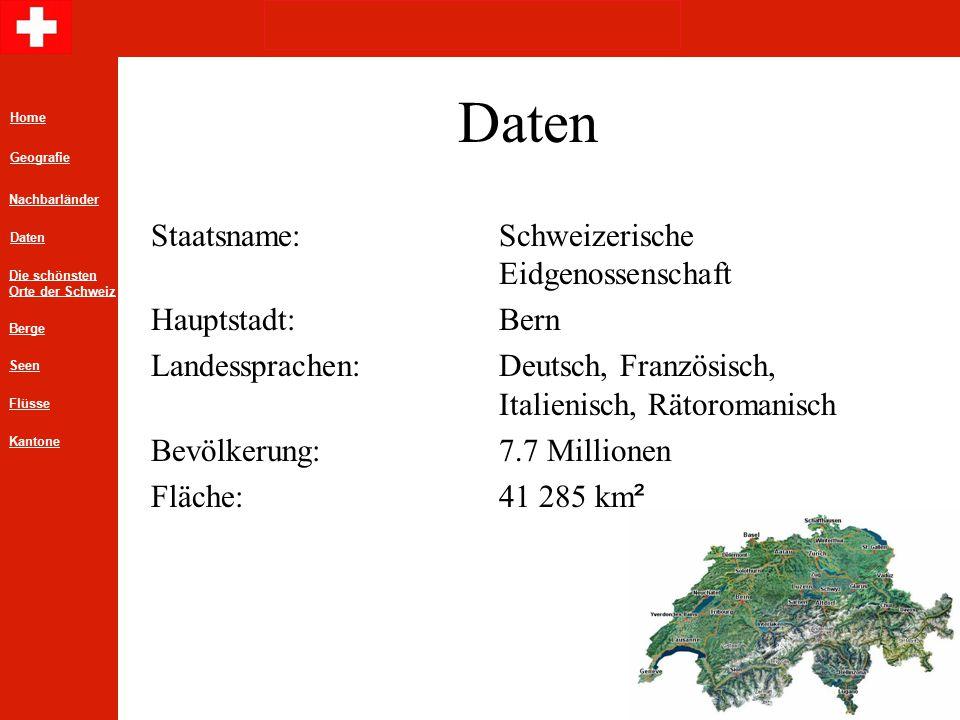 Daten Staatsname: Schweizerische Eidgenossenschaft Hauptstadt: Bern