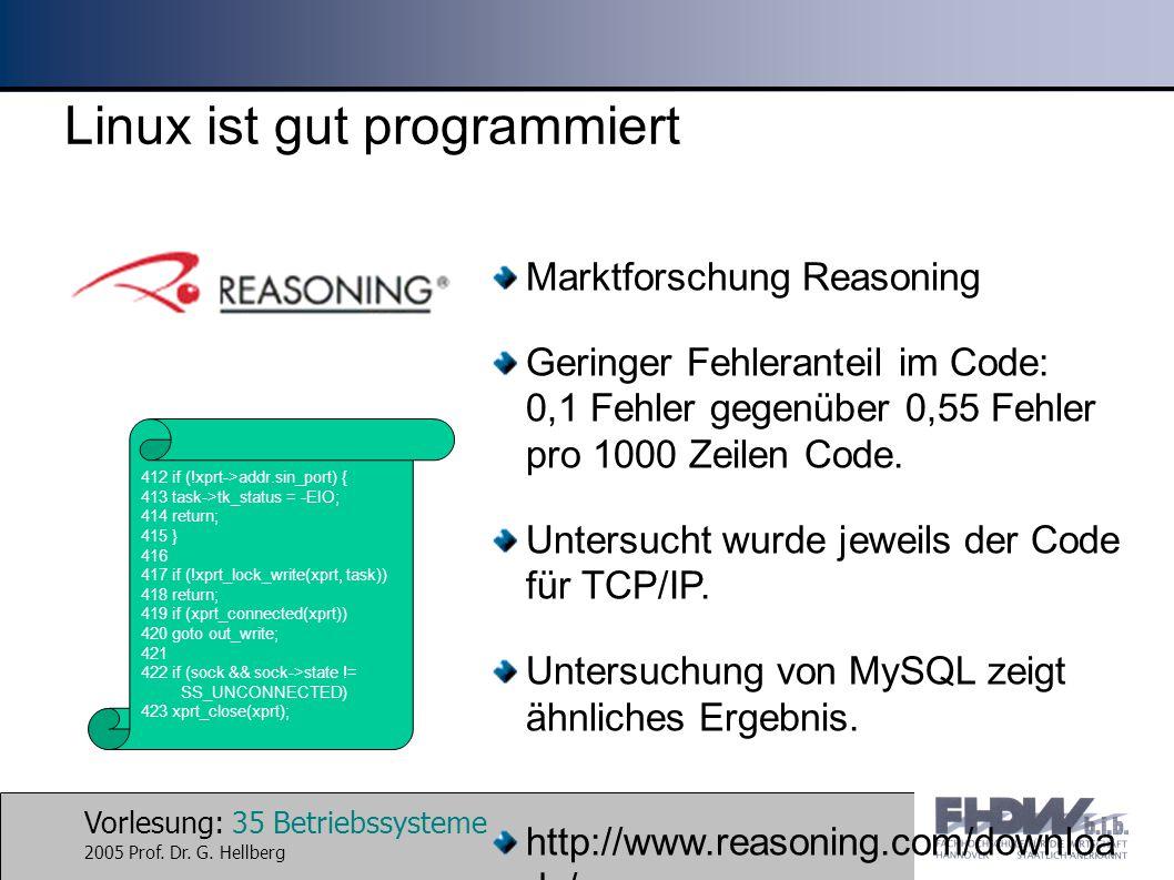 Linux ist gut programmiert