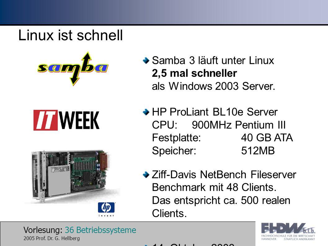 Linux ist schnell Samba 3 läuft unter Linux 2,5 mal schneller als Windows 2003 Server.