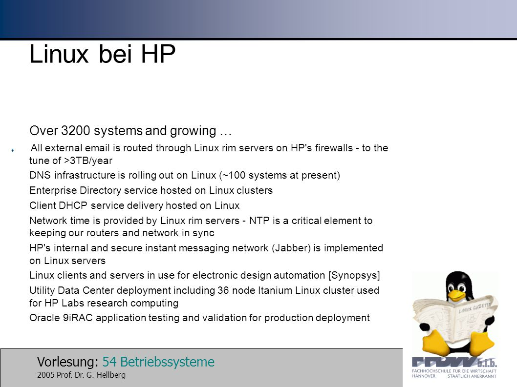 Linux bei HP Over 3200 systems and growing …