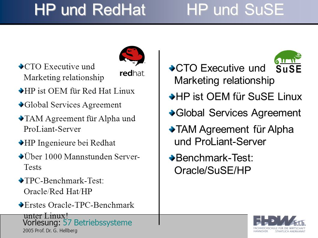 HP und RedHat HP und SuSE