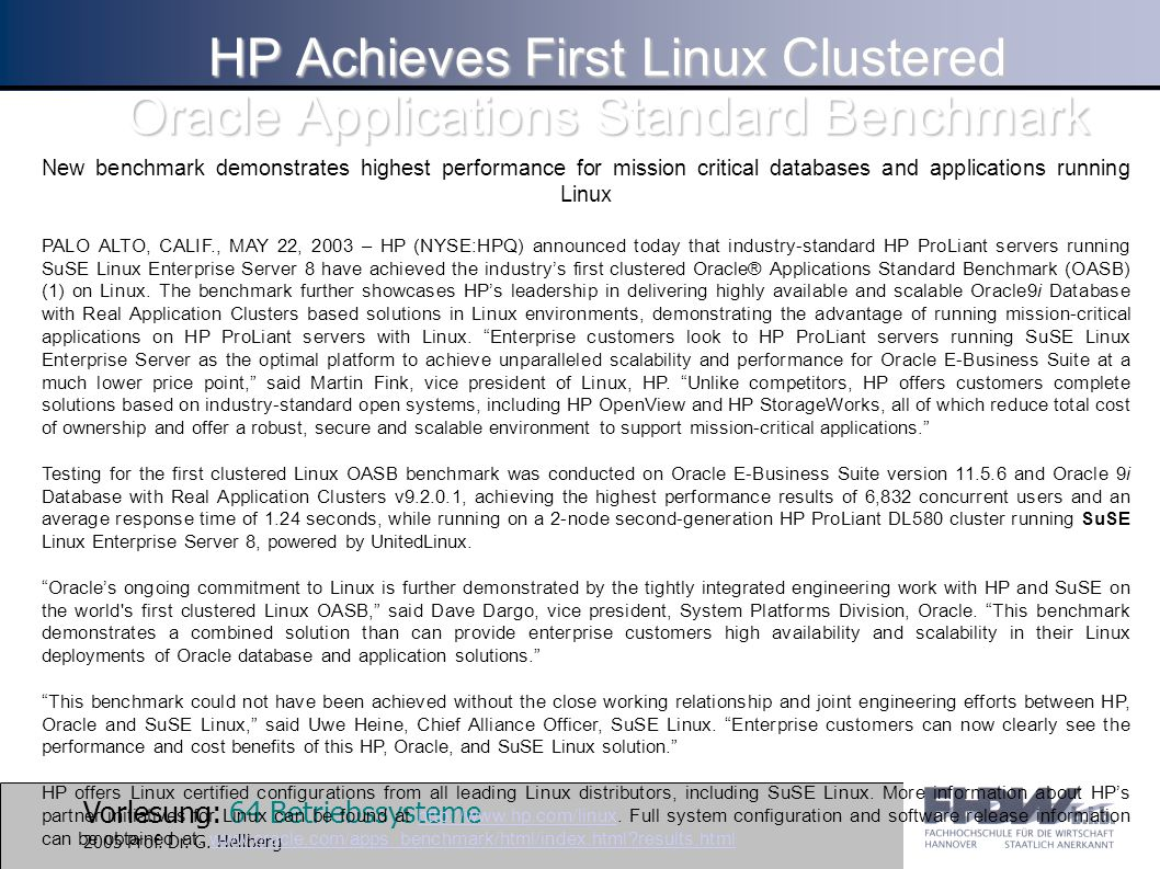 HP Achieves First Linux Clustered Oracle Applications Standard Benchmark