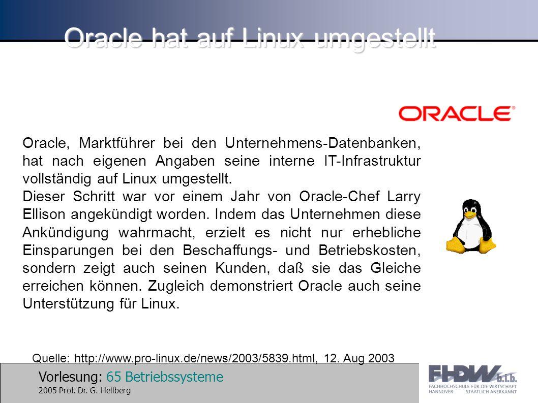 Oracle hat auf Linux umgestellt