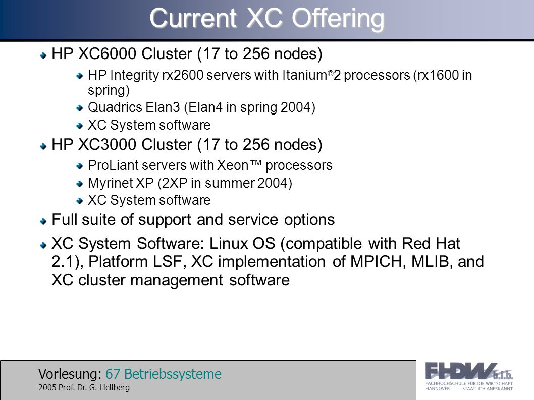 Current XC Offering HP XC6000 Cluster (17 to 256 nodes)