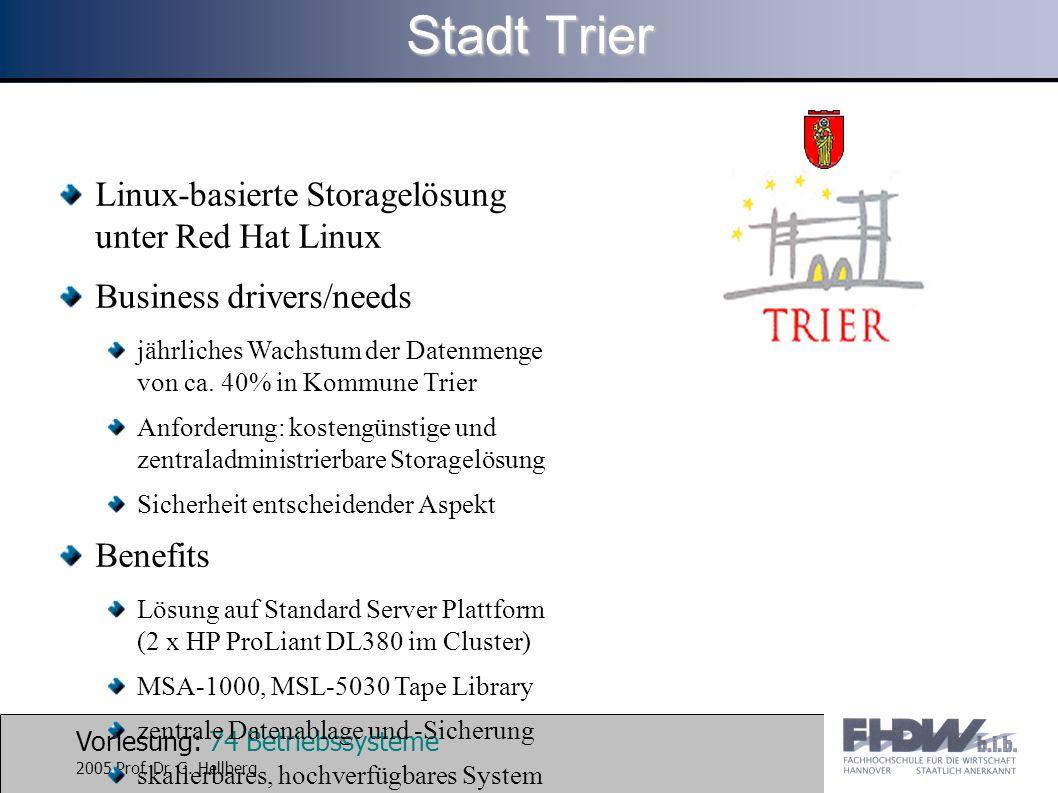 Stadt Trier Linux-basierte Storagelösung unter Red Hat Linux