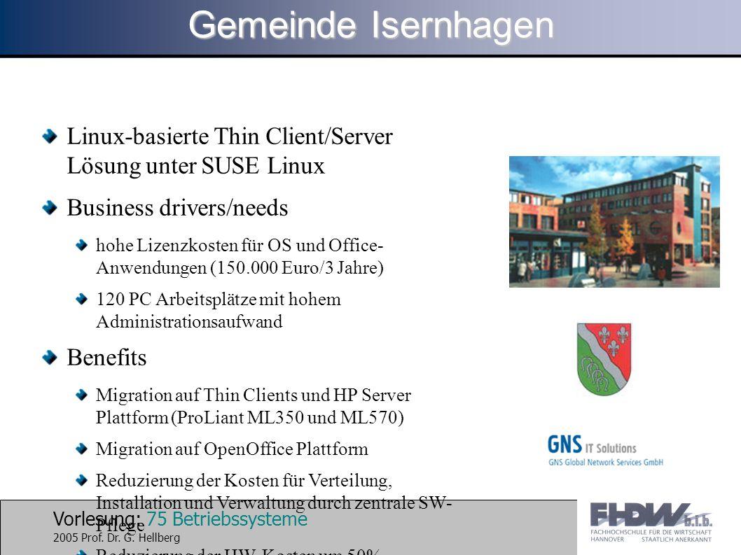 Gemeinde Isernhagen Linux-basierte Thin Client/Server Lösung unter SUSE Linux. Business drivers/needs.
