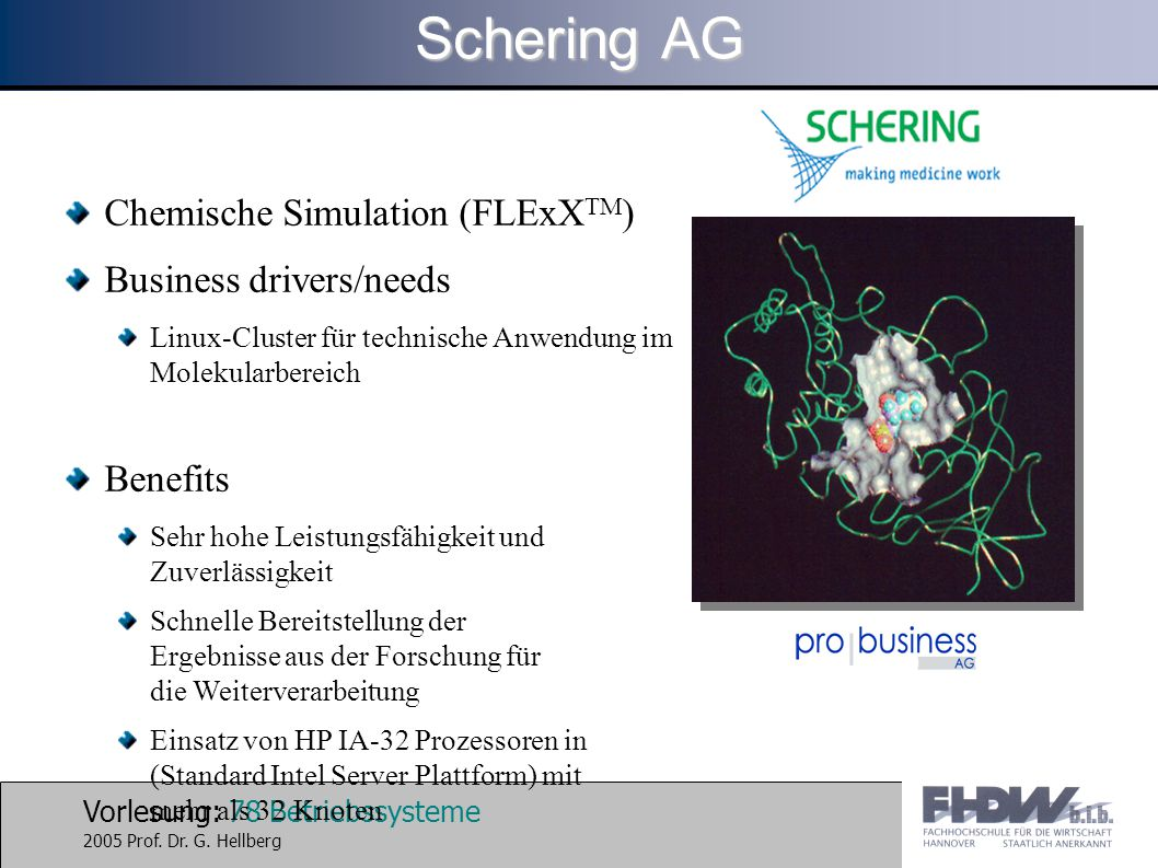 Schering AG Chemische Simulation (FLExXTM) Business drivers/needs