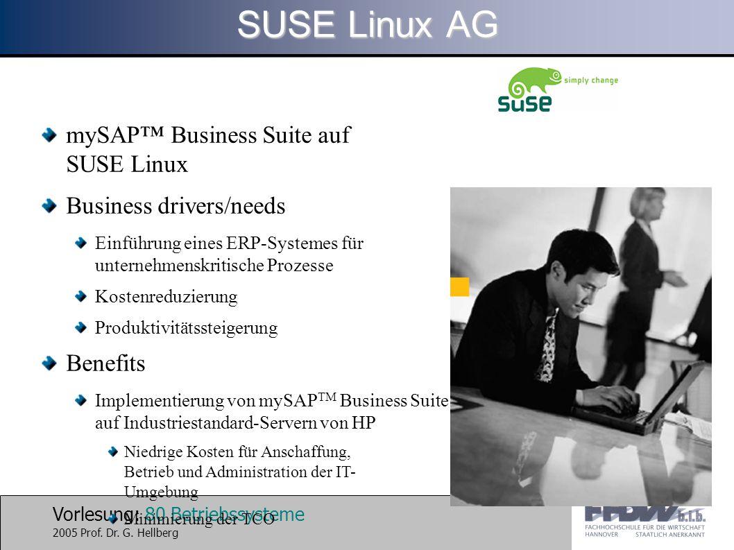 SUSE Linux AG mySAP™ Business Suite auf SUSE Linux