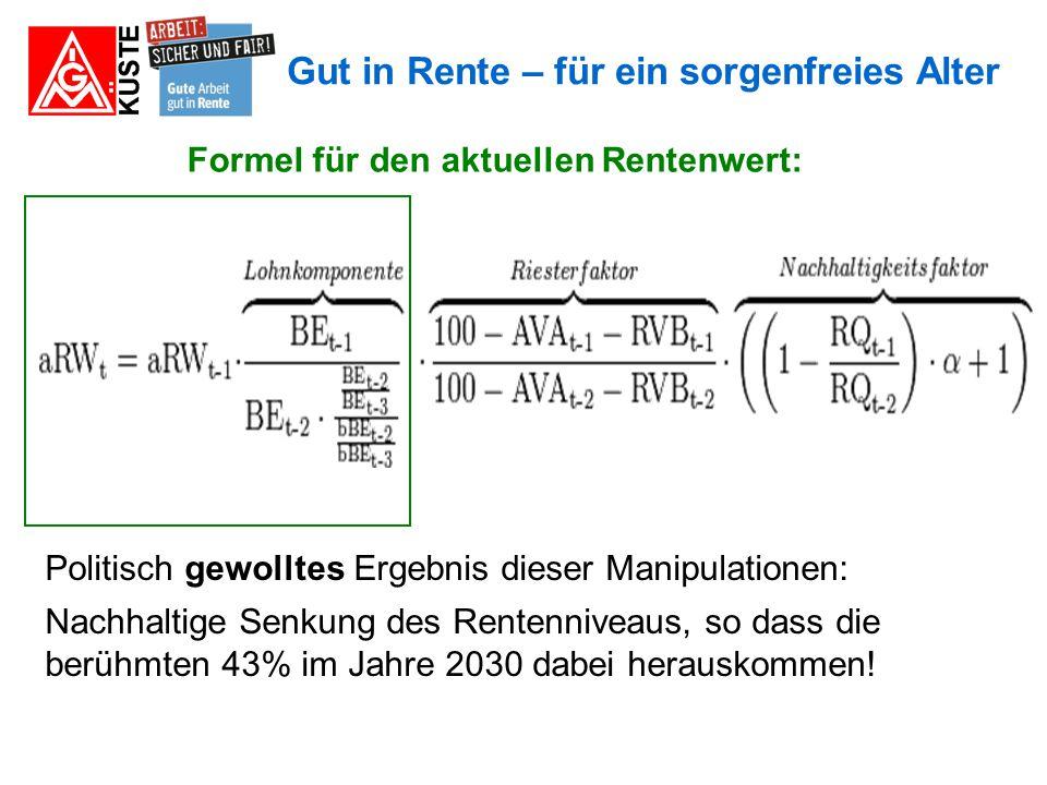 Formel für den aktuellen Rentenwert: