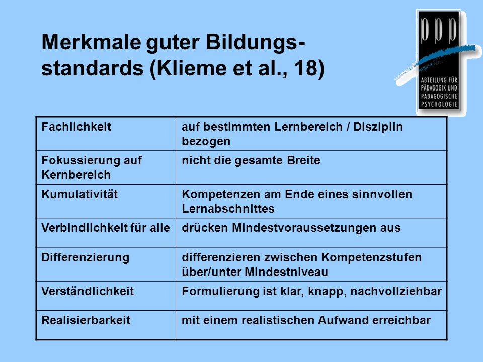 Merkmale guter Bildungs-standards (Klieme et al., 18)