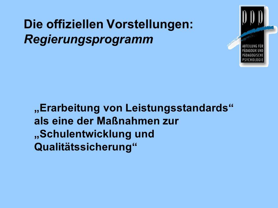 Die offiziellen Vorstellungen: Regierungsprogramm
