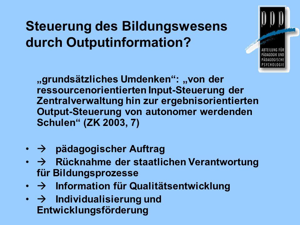 Steuerung des Bildungswesens durch Outputinformation