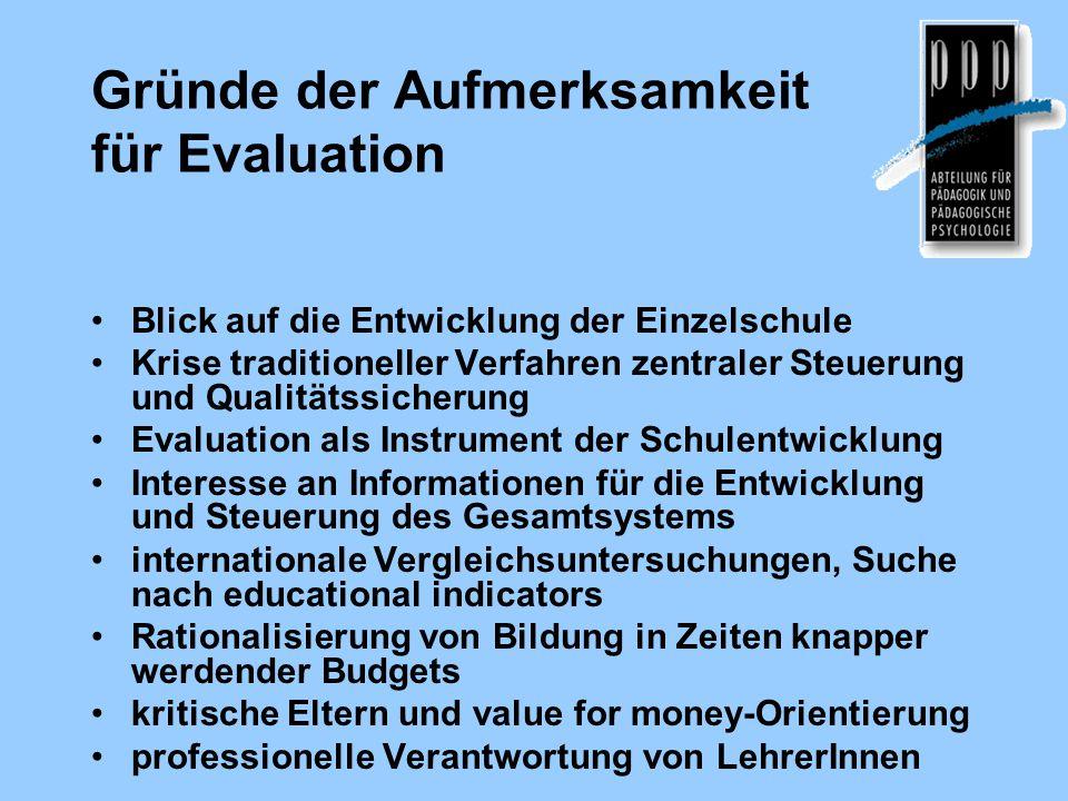 Gründe der Aufmerksamkeit für Evaluation