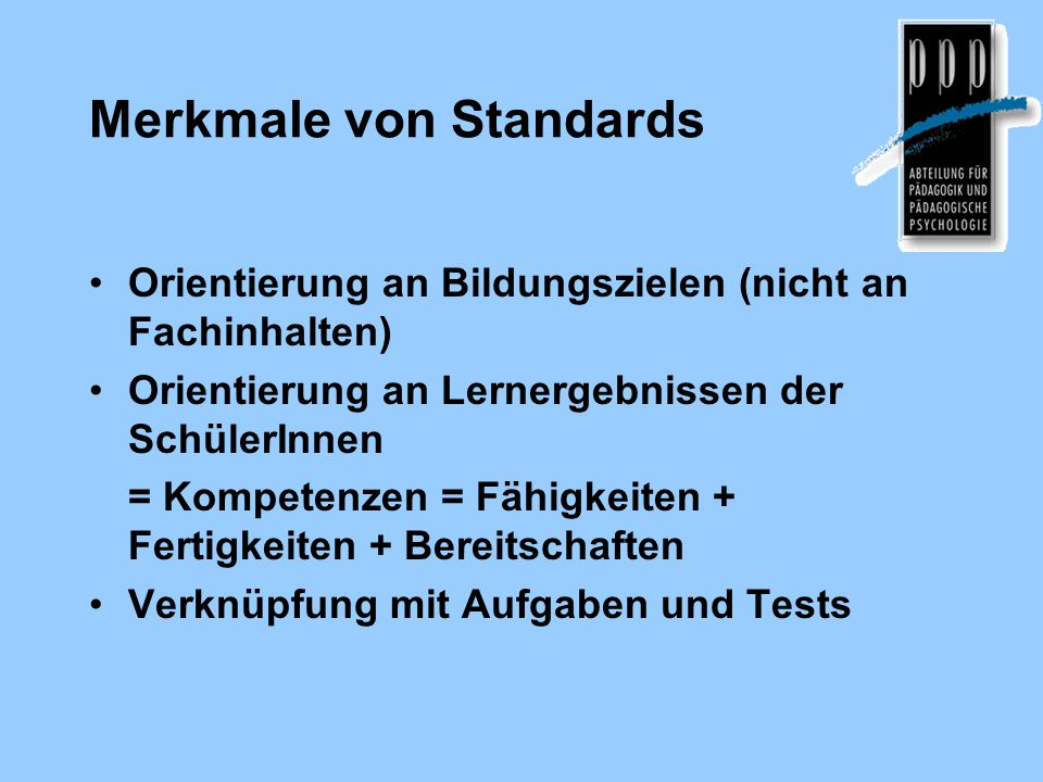 Merkmale von Standards
