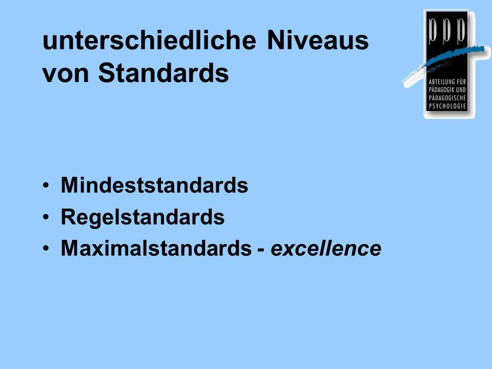 unterschiedliche Niveaus von Standards
