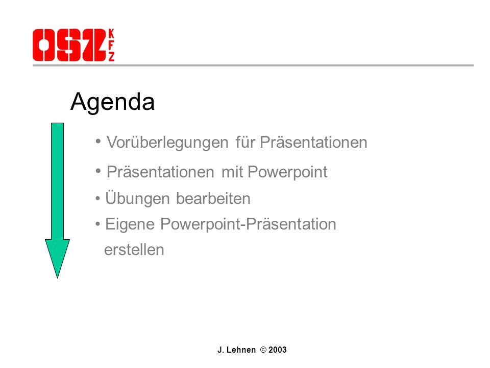 Agenda Vorüberlegungen für Präsentationen